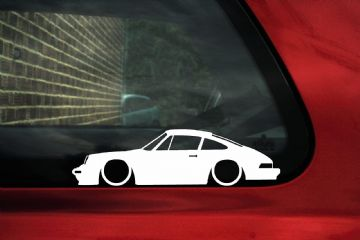 2X Lowered 'Porsche 911 (930) CARRERA Low classic car outline STICKERS decal